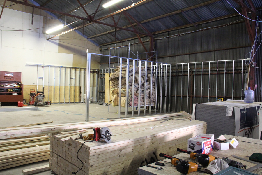 The outer walls of the classroom and bathrooms are starting to take shape.